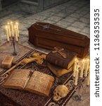 vampire hunter items and... | Shutterstock . vector #1136353535