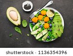 healthy nourishment bowl with... | Shutterstock . vector #1136354396