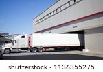 semi truck with trailer backed... | Shutterstock . vector #1136355275