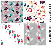 set of 4 floral seamless... | Shutterstock .eps vector #1136357555