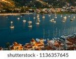 sunset on poros island in... | Shutterstock . vector #1136357645
