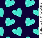 hearts of mint color on dark... | Shutterstock .eps vector #1136361095