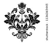 damask graphic ornament. floral ... | Shutterstock .eps vector #1136365445