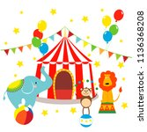 carnival with striped tents ... | Shutterstock .eps vector #1136368208