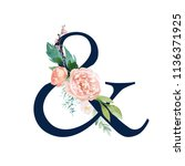 navy floral alphabet  ... | Shutterstock . vector #1136371925