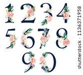 navy floral number set   digits ... | Shutterstock . vector #1136371958
