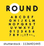 bold alphabet with rounded and... | Shutterstock .eps vector #1136401445