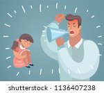 father scolding his daughter....   Shutterstock .eps vector #1136407238