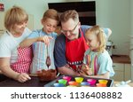 happy grandparents have fun... | Shutterstock . vector #1136408882