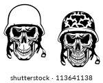 warrior and pilot skulls in...