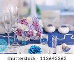 serving fabulous wedding table... | Shutterstock . vector #113642362