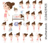 a set of swimwear style women... | Shutterstock .eps vector #1136425925