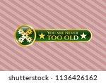 golden emblem with mechanism... | Shutterstock .eps vector #1136426162