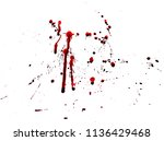 Small photo of Red splatter pattern on white background