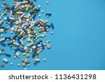 spilled colored medications and ... | Shutterstock . vector #1136431298