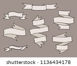 vintage hand drawn ribbon... | Shutterstock . vector #1136434178