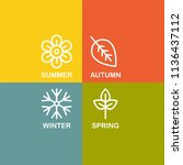 seasons flat vector icons | Shutterstock .eps vector #1136437112