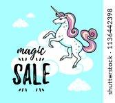cartoon vector unicorn... | Shutterstock .eps vector #1136442398