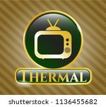 gold badge with old tv ... | Shutterstock .eps vector #1136455682