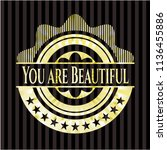you are beautiful gold badge | Shutterstock .eps vector #1136455886