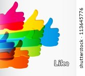 like and thumbs up symbol.... | Shutterstock .eps vector #113645776