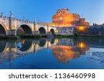 saint angel castle and bridge... | Shutterstock . vector #1136460998