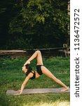 beautiful fitness girl... | Shutterstock . vector #1136472572