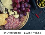 bottle of wine  corkscrew and... | Shutterstock . vector #1136474666