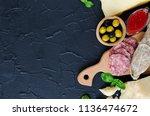 mediterranean appetizers  tapas ... | Shutterstock . vector #1136474672