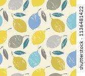 seamless background with lemons ... | Shutterstock . vector #1136481422