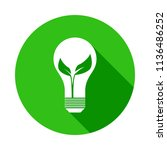 leaf in a light bulb green icon ... | Shutterstock .eps vector #1136486252