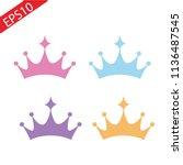 set of princess crowns tiara...   Shutterstock .eps vector #1136487545