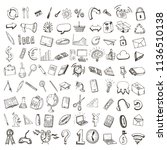 set of hand drawn education ... | Shutterstock .eps vector #1136510138