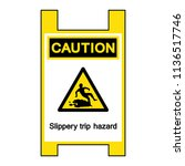 caution slippery trip hazard... | Shutterstock .eps vector #1136517746