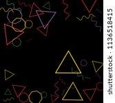geometric memphis background.... | Shutterstock .eps vector #1136518415