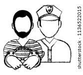 prisoner with police avatar... | Shutterstock .eps vector #1136522015