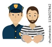 prisoner with police avatar... | Shutterstock .eps vector #1136527862