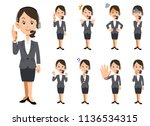 nine facial expressions and...   Shutterstock .eps vector #1136534315