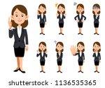 working women 9 kinds of... | Shutterstock .eps vector #1136535365
