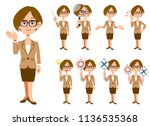 working women with eyeglasses 9 ... | Shutterstock .eps vector #1136535368