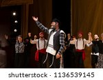 Small photo of New York, NY - July 15, 2018: Steven Skybell played role Tevye addresses audience during premiere of musical Fiddler on the Roof in Yiddish at Museum of Jewish Heritage