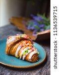 gourmet dessert croissant with... | Shutterstock . vector #1136539715