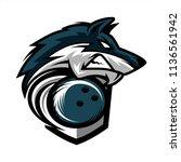 bowling wolf team logo   Shutterstock .eps vector #1136561942