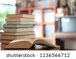 close up of books opened on... | Shutterstock . vector #1136566712