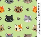 cute vector seamless pattern... | Shutterstock .eps vector #1136567312