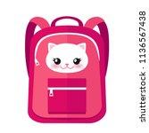 vector school bag in pink color ... | Shutterstock .eps vector #1136567438