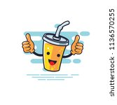 cup chracter two thumbs  can be ... | Shutterstock .eps vector #1136570255