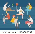 various kind of students... | Shutterstock .eps vector #1136586332