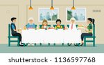 families sit together to eat... | Shutterstock .eps vector #1136597768