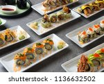 various sushi roll shot   Shutterstock . vector #1136632502